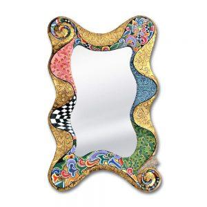 ausgefallener bunt gemustereter spiegel, wellenform, golden