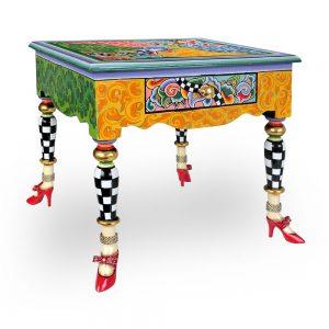 ausgefallener designer-tisch mit handbemaltem wunderschönen muster, luxuriös