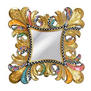 extravaganter, ausgefallener designer-spiegel, handbemalt mit schnürkeln und buntem muster
