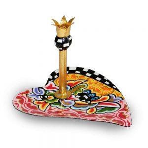 kunstvolle konfektschale, designer-schale mit goldener krone, golden mit bunten mustern