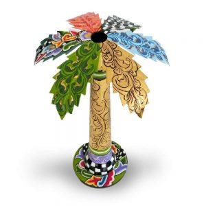 ausgefallener designer-kerzenständer als palme, bunt mit muster, extravagant