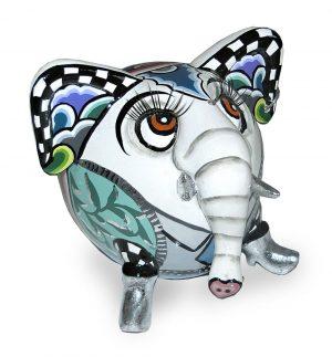 ausgefallene elefantenfigur buntes muster, silber mit wimpern und ohrring