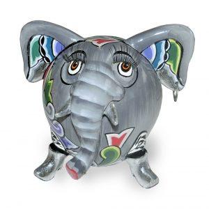 ausgefallene elefantenfigur wieß mit extravagantem muster mit wimpern und ohrring