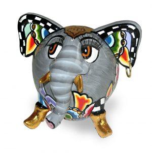 kleiner bunter elefant, ausgefallenes muster mit wimpern und ohring, goldene stoßzähne
