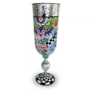 ausgefallene vase / pokal, handbemalt, silbern mit extravagantem muster