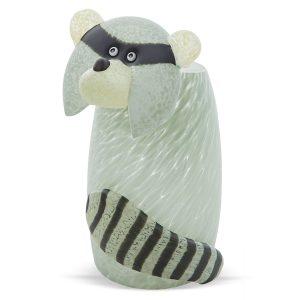 glasvase figur waschbär grau