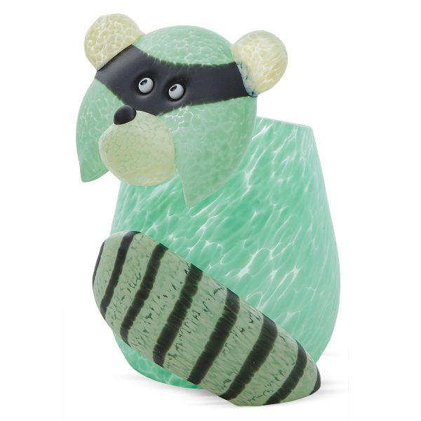 glasvase figur waschbär mintgrün