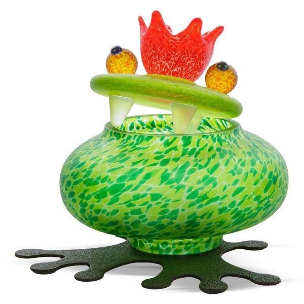 glasdose figur frosch grün