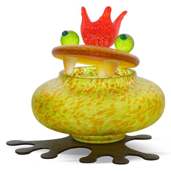 glasdose figur frosch oliv