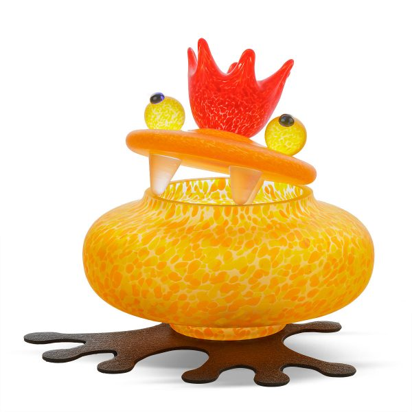 glasdose figur frosch orange