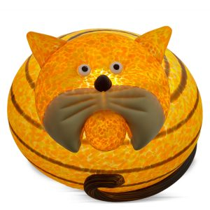lustige tischleuchte glasobjekt katze kiddo orange