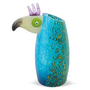 bunte glasvase blauer papagei