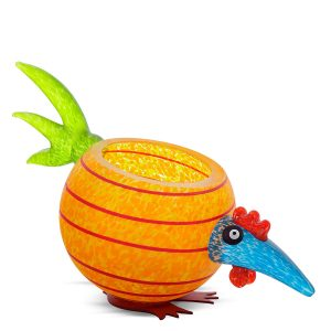 Bunte Glasschale orange als Huhn