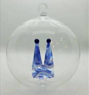 Domglas-Christbaumkugel-blau-weiß