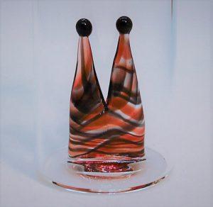 Domglas-Schnapsglas-Dom-rot-schwarz-Streifen-detail