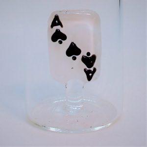 Domglas-Schnapsglas-Spielkarte-schwarz-detail