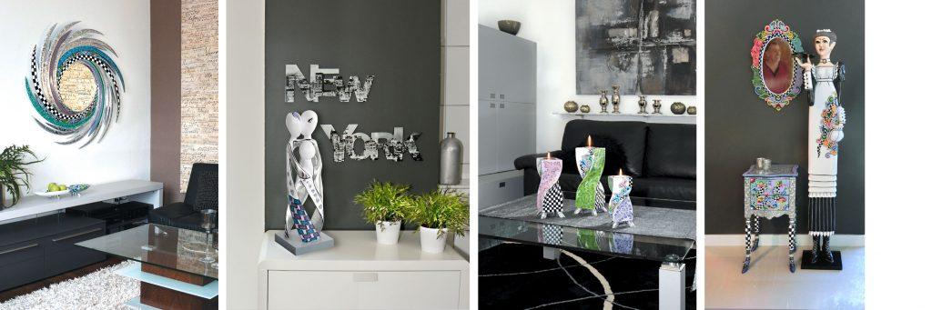 silberner Spiegel in Wohnraum, silberne Kunstobjekte