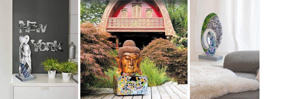 bunte Skulpturen mit gold,Buddh auf Sockel