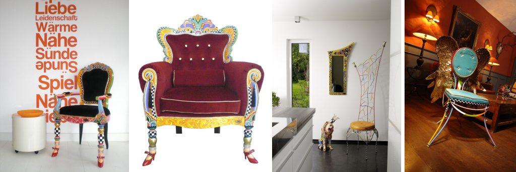 bunte Designer Stühle, Designer Thron und Stühle in Wohnambiente
