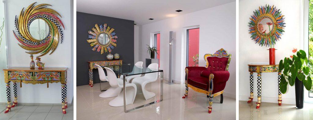 golden und bunte Möbel in Wohnraum