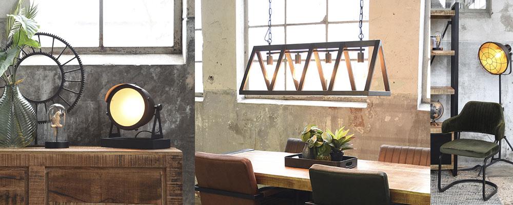 Leuchte auf Sideboard, Industriedesign Leuhcte über Tisch, Stehleuchte mit Stuhl