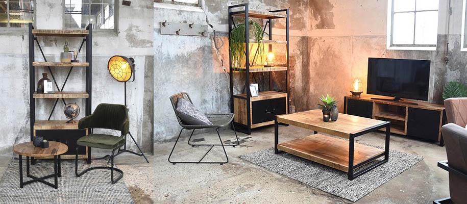 Möbel im Industriedesign Couchtisch Regal und Stuhl